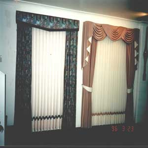 Padded pelmets or swags and tails.